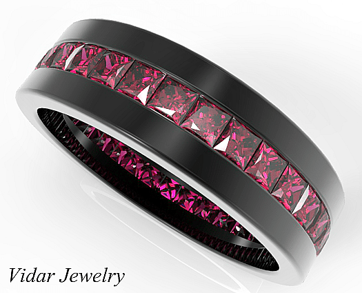 Rubies Wedding Ring For Him In 14k18k Black Gold Vidar