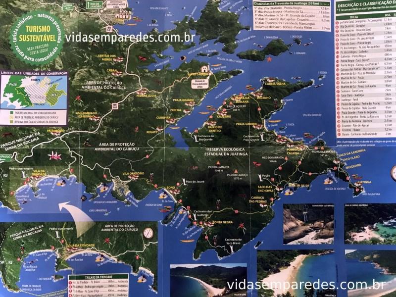 Mapa da região de Paraty e Trindade (RJ) - vida sem paredes
