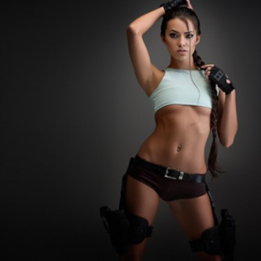 Joanie Brosas tomb raider cosplay pose