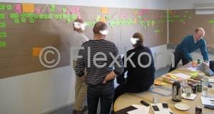Bemærk længden på værdistrømsanalysen - og den fortsætte på væggen til højre (udenfor billedet). I alt brugte vi vel ca. 12 meter brunt papir.