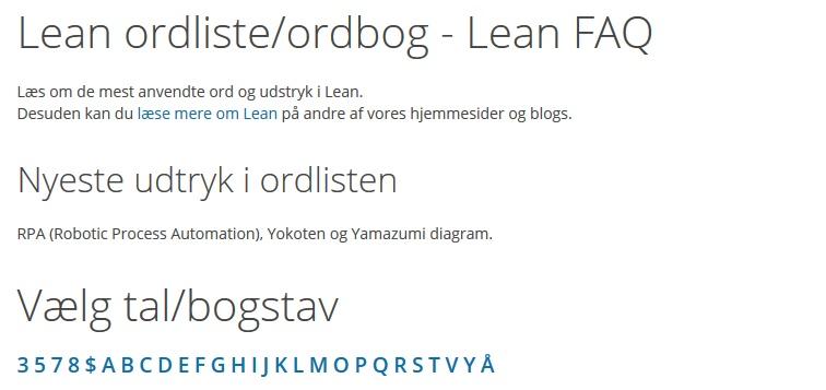 Lean Ordliste/ordbog