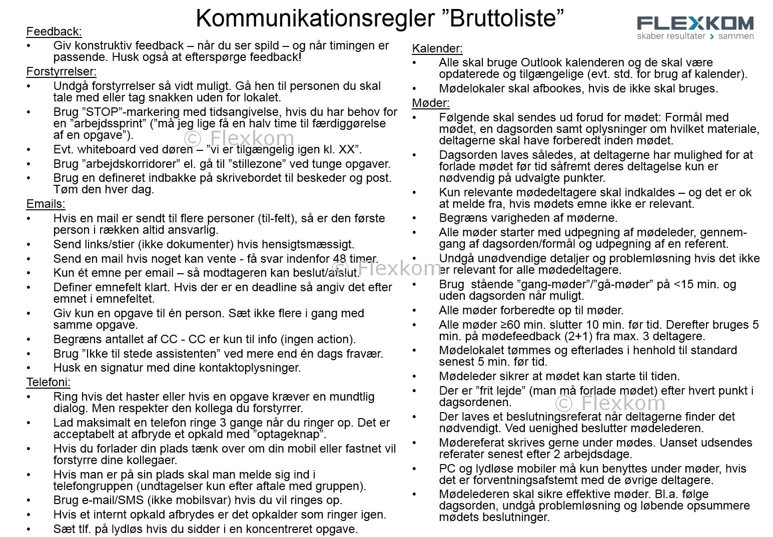 Bruttoliste For Møderegler, Mailregler…kommunikationsregler