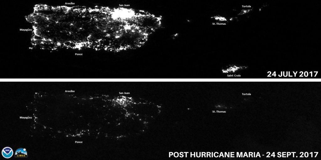 Contaminación lumínica de noche en Puerto Rico, antes (arriba) y después (abajo) del huracán Maria. Imagen: NOAA