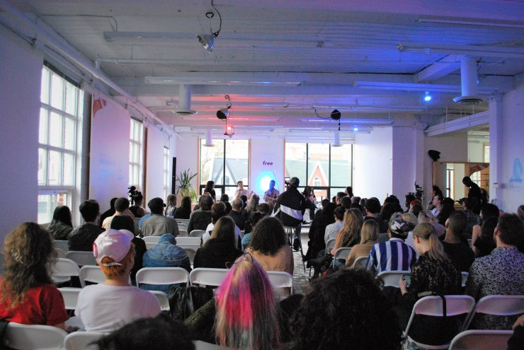 """People attend Absolut's """"Tomorrow, Tonight"""" panel."""