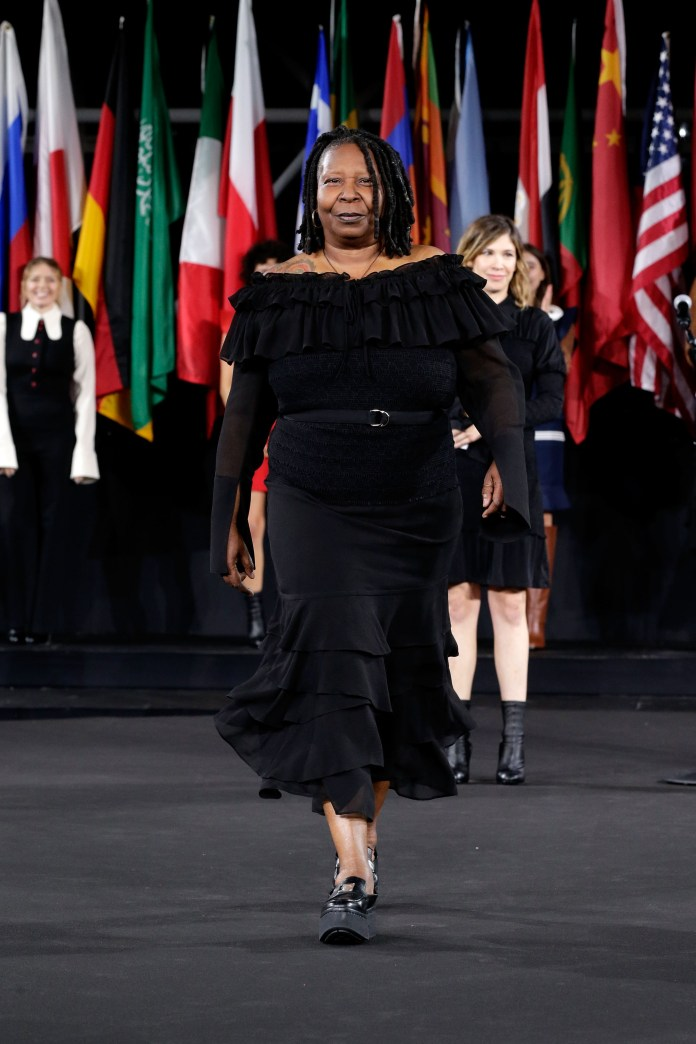 """Fashion is finally catching up to me,"" says Whoopi, seen here walking for Opening Ceremony in 2016."