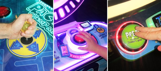 A split image showing three close ups of hands playing arcade games