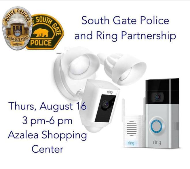 South Gate, CA promotional image for a Ring discount event.