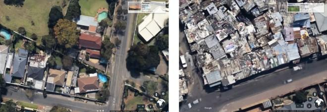 Parkhurst suburbs (left); Alexandra township (right)