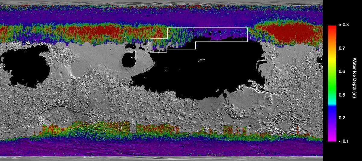El cuadro representa la región ideal para enviar astronautas para que puedan desenterrar hielo de agua. Imagen: NASA / JPL-Caltech / ASU