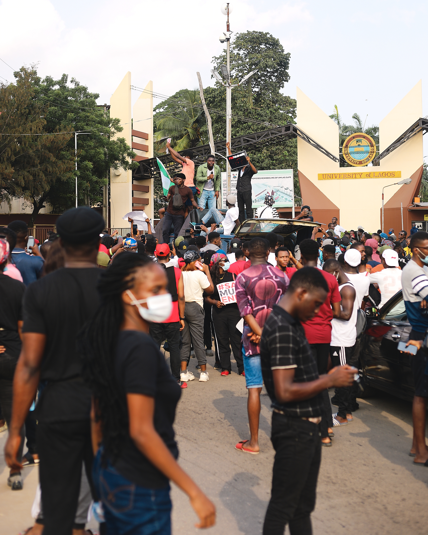 Crowd of protesters at anti-SARS protest in Lagos