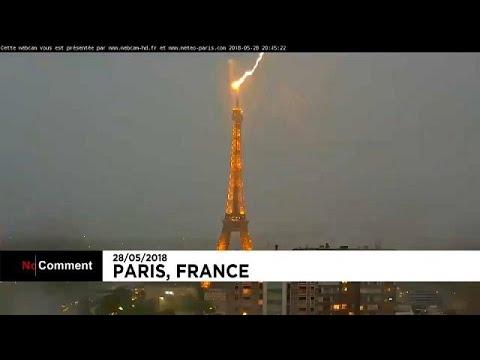 بالفيديو.. صاعقة رعدية تضرب برج إيفل