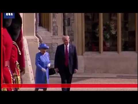 بالفيديو.. 3 سقطات بروتوكولية لترامب أمام الملكة إليزابيث