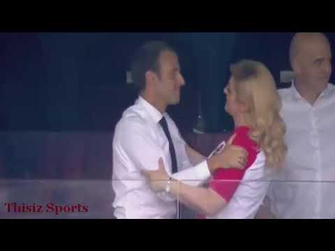 بالفيديو.. قبلة ماكرون لرئيسة كرواتيا تشعل السوشيال ميديا