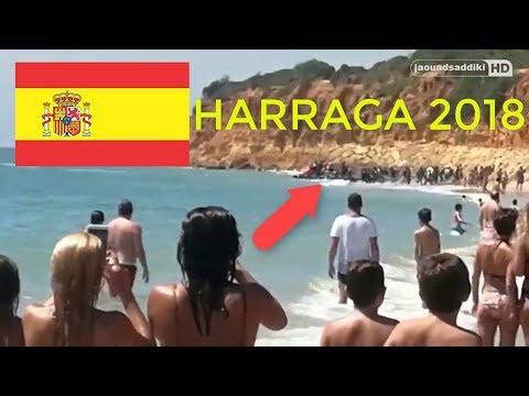 بالفيديو… لحظة وصول قارب مهاجرين غير شرعيين إلى شاطئ إسباني  من المغرب