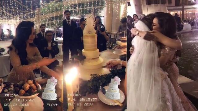 """أول فيديو من حفل زفاف ابنة الإعلامية السعودية """" لجين عمران """" في البحرين"""
