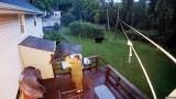 رد فعل امرأة لحظة اقتحام دب أسود حديقة منزلها