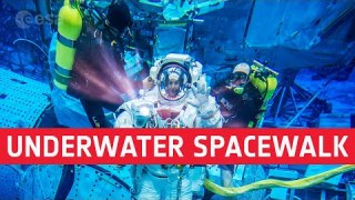 Underwater spacewalk training with Thomas Pesquet