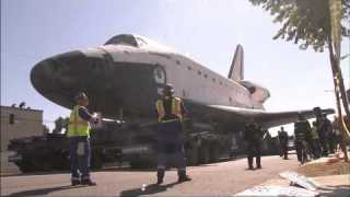 Space Shuttle Endeavour Traveling Through the Streets of Los Angeles