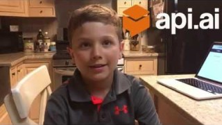 Scoot (age 7) builds a Conversational Chatbot using API.AI