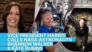 Vice President Kamala Harris Calls NASA Astronauts Shannon Walker and Kate Rubins