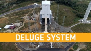 Ariane 6 launch pad water deluge system test