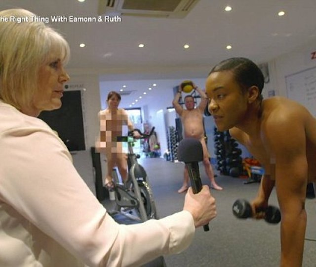 Uk Tv Presenter Strips Off For A Naked Exercise Class As Completely Nude Gym Goers Work Out Around