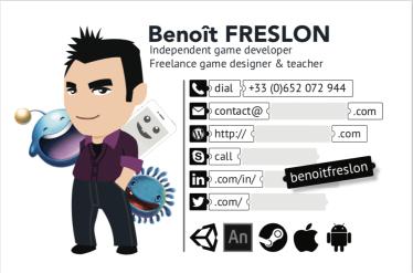 Ma nouvelle carte de visite : game designer freelance et independent game dev