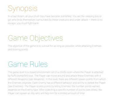 Couleurs document de game design