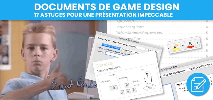 Documents Game Design astuces présentation