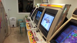 The room has a fantastic old-school arcade feel to it.