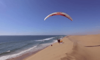 Paragliding Over the Sand Dunes in Namibia