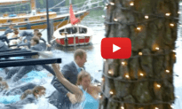 Entire Wedding Party Falls Into the Water