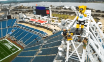 Zip Lining From The Top Of an NFL Stadium