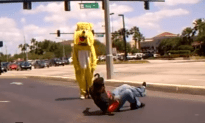 Guy Challenges Costume Dog to a Dance Off