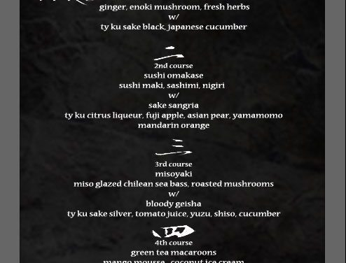 TATU Releases The Menu For Tonight's Chef Tasting!