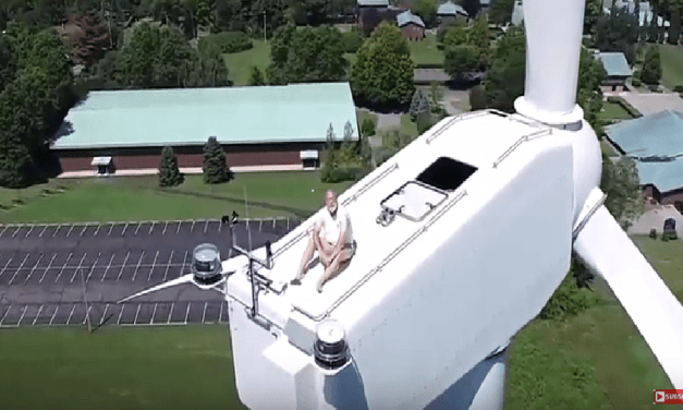 Drone Catches A Man Tanning On A Two Hundred Foot Turbine