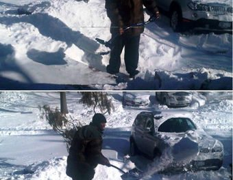 Even Famous Rappers Have To Shovel Snow…