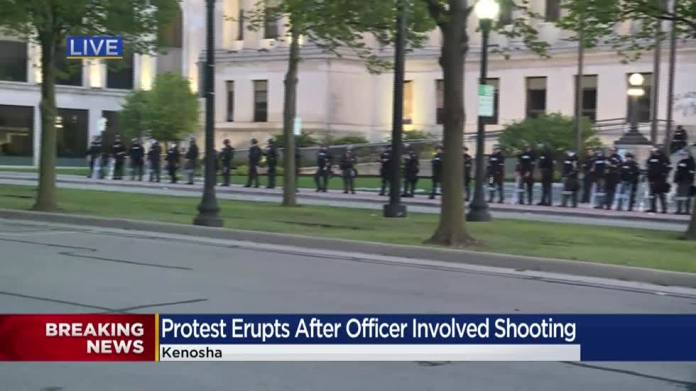 Protests in Kenosha continue into night following police shooting ...