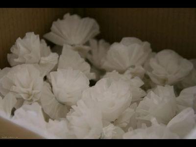 Le Club des Roses, fabrication des fleurs en papier pour la Bénédiction de la mer 2013 à Port en Bessin