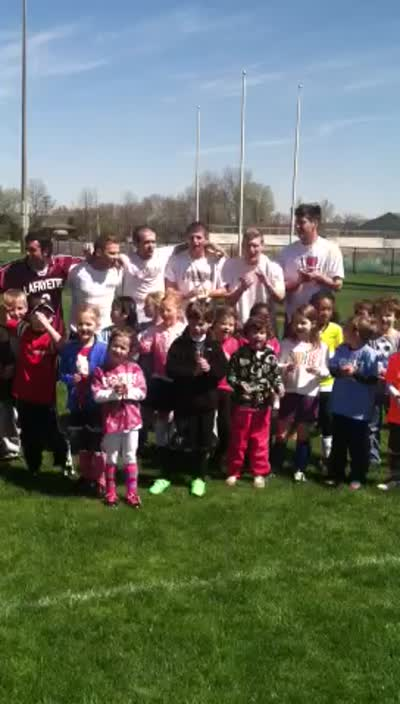 The 5-7 Year Old group Chants 'Athletes C.A.R.E.'
