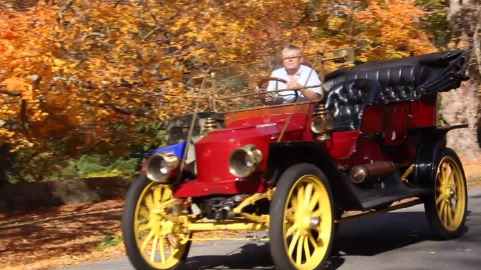 Don Nelson of Harwinton, CT shows off his 1911 steam-powered Stanley touring car.