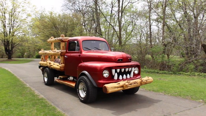 """Mike Johnson of New Milford, Conn. has created a super-hero truck called """"Logdog"""" from a 1952 Ford F1 pickup. Some photos used are courtesy of Mike Johnson."""