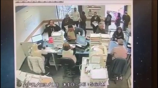 A woman taking her driving test at the Waterbury DMV on Thomaston Avenue Tuesday accidentally hit the accelerator instead of the brake pedal and smashed through a window of the building. A DMV surveillance camera captured this footage.