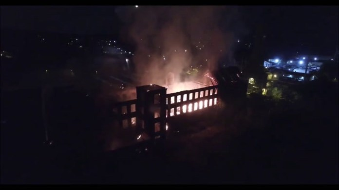 A fire ripped through the former Ansonia Brass & Copper factory on Bank Street in Waterbury Monday night. Drone footage courtesy of James Russell.