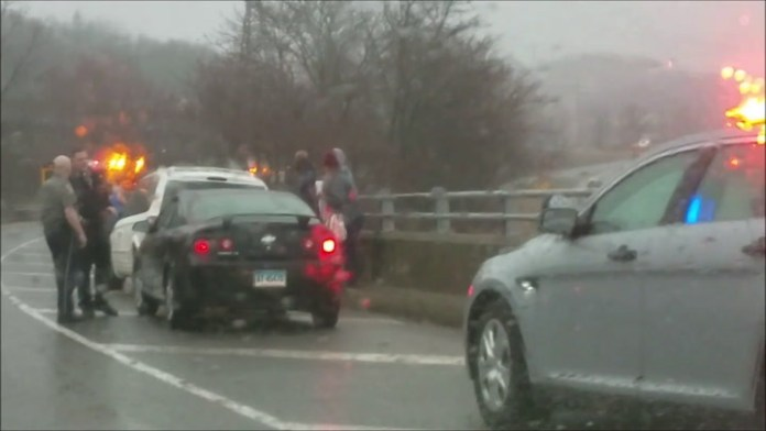 More than a dozen vehicles were stopped with flat tires near the Route 8 northbound on-ramp from  Interstate 84 westbound in Waterbury Monday morning.