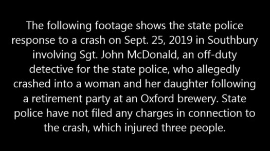 State police investigate a Sept. 25, 2019 crash in Southbury involving one of their own, Sgt. John McDonald