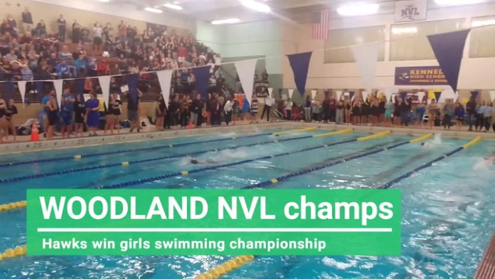 Woodland triumphs to win NVL girls swim title