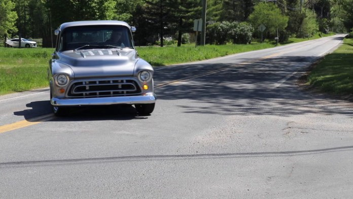 Ethel Whitford of North Canaan, Conn. owns a striking silver custom Chevy pickup. It has the front from a 1957 Chevrolet pickup, the rear bed assembly from a 1997 Chevrolet pickup, and a subframe from a 1977 Chevrolet Nova. It's a gorgeous model that she shares in My Ride.