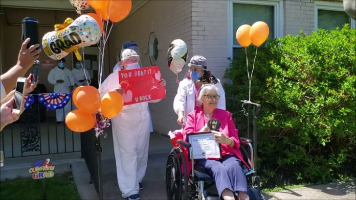 "Mary Gugliotti ""graduated"" from Autumn Lake Healthcare's coronavirus unit Wednesday after making a full recovery."