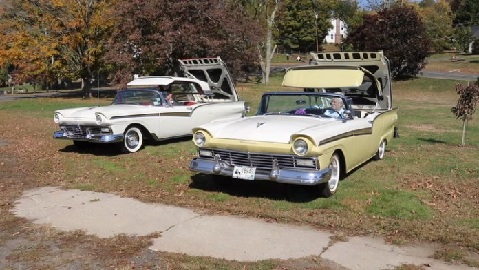 George and Skip Cowles of Plymouth, Conn. are father and son and share a love of the Ford Fairlane 500 Skyliner, a short-lived car model from the late 1950s that featured a retractable hardtop roof. Between them, they own six Skyliners. They show off one each in My Ride.